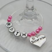Sister In Law Personalised Wine Glass Charm